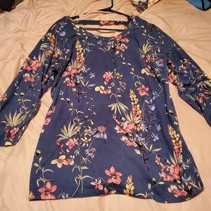 Como Vintage blud floral top size Large!
